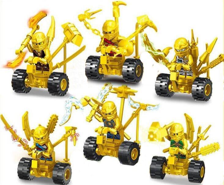 Ninjago Sets Gold Ninjago on Motors Minifigures Lego Compatible Toys