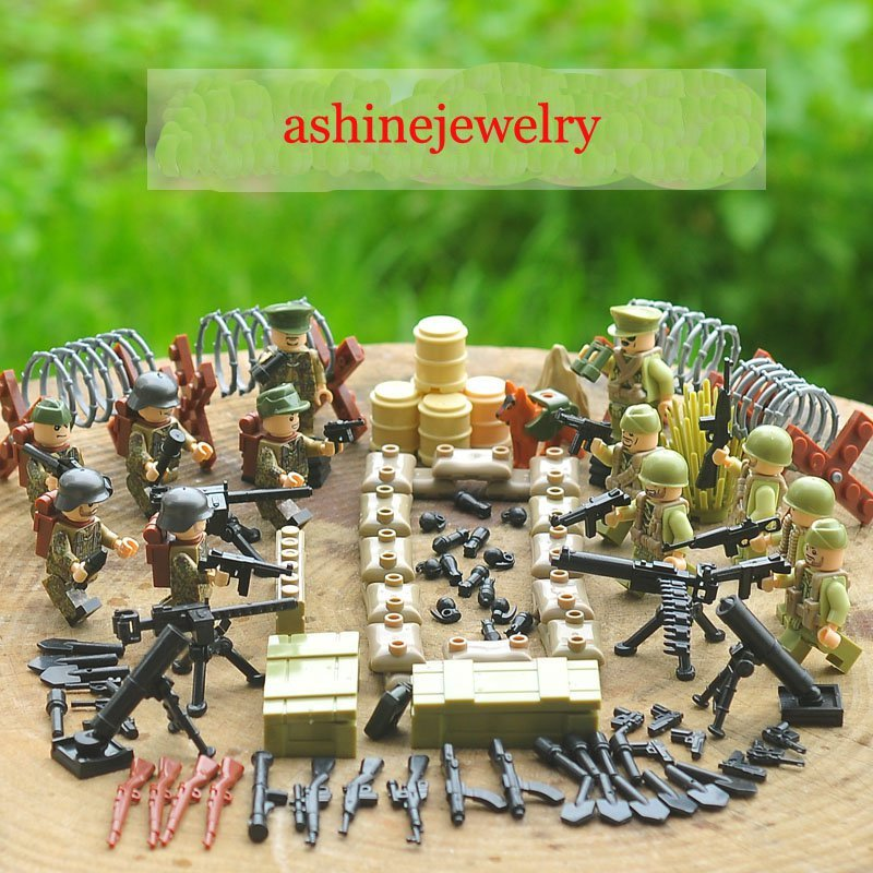 American German Soliders WW2 Normandy Landing Lego military sets Compatible Toys