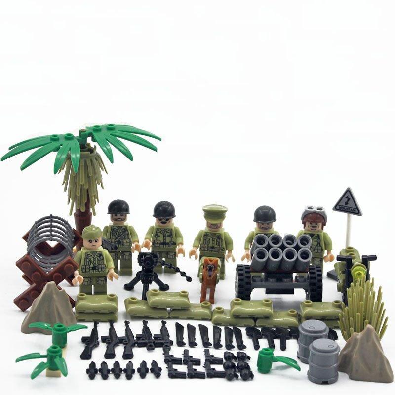 WW2 America soldiers Minifigures Hacksaw Ridge building block Toy Compatible Lego WW2 Military