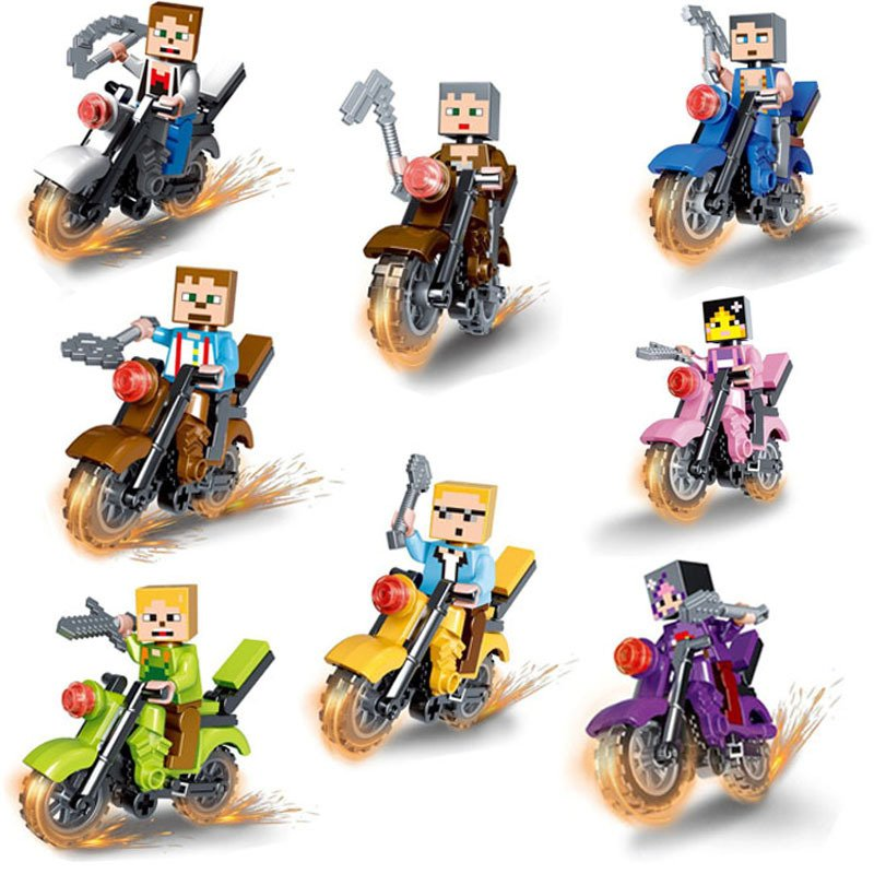 Steve Motorcycle Minifigures Compatible Lego Minecraft Minifigure Toy