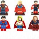 6pcs Superman Supergirl Minifigures Compatible Lgeo Toy Super Heroes sets