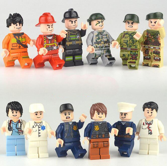 12pcs City Worker Police Minifigures Compatible Lgeo Toy City Minifigures