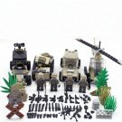 American Military Base Soldiers Truck Blackhawk Helicopter Tank Battle Pack Fit Lego WW2 Soliders