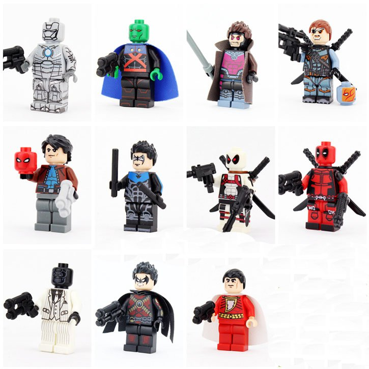 Red Hood Deathstroke Martian Manhunter Minifigures Compatible Lego Toy DC Super Heroes