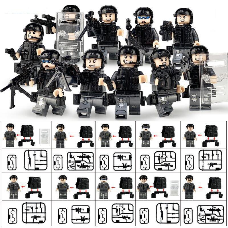 10pcs City Riot Police Minifigures Lego Compatible military sets