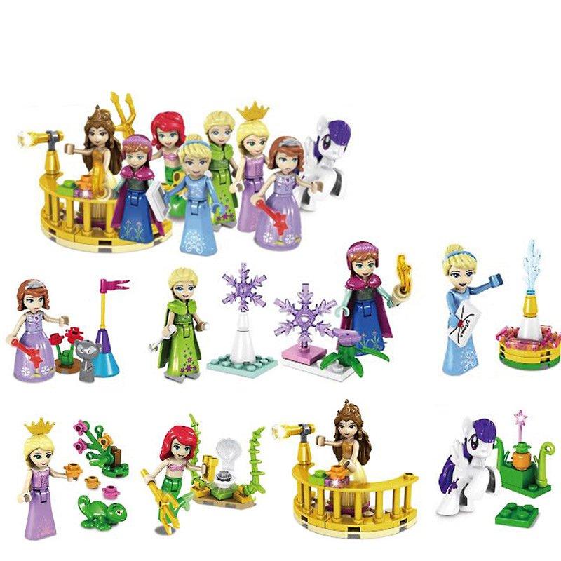 Cinderella Mermaid Frozen Minifigures Lego Compatible Friend sets