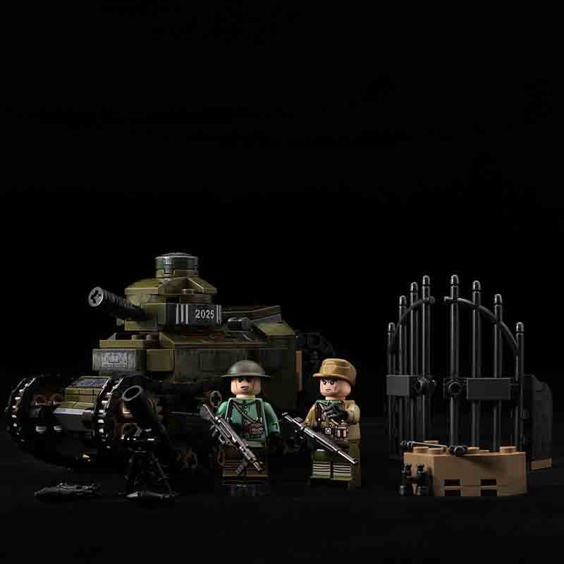 French Renault FT-17 Tank soldiers Minifigures Lego Compatible WW2 Military Tank
