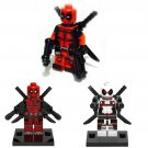 3pcs Deadpool Red White Minifigures Lego Compatible Toy