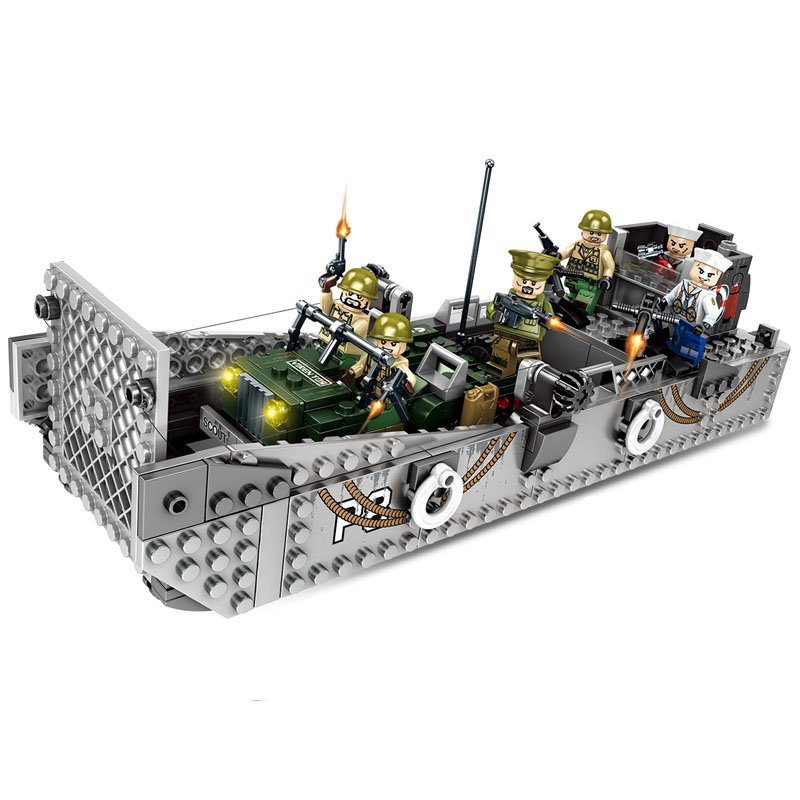 WW2 American Landing Ship PP77-A soldiers Minifigures Lego Compatible Toy