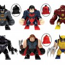 6pcs Big Super Heroes Batman Superman The Flash Minifigures Lego Compatible Toy