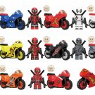 9pcs Deadpool motorcycle sets Minifigures Lego Compatible Toy