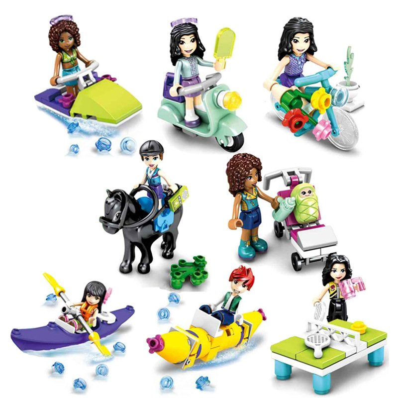 Girl Friends by DK motorcycle Minifigures Lego Friends 2019 Compatible Toy