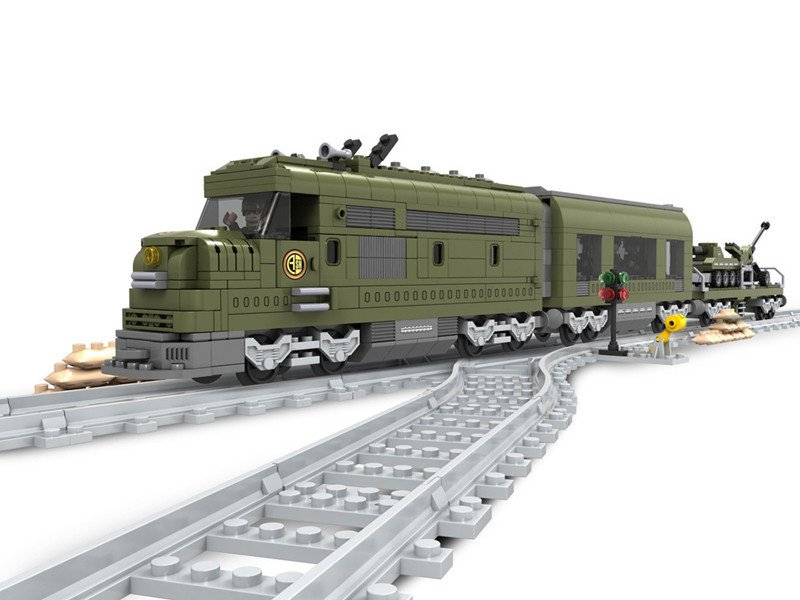 City Green Train building block Toy Lego Train Tracks Compatible