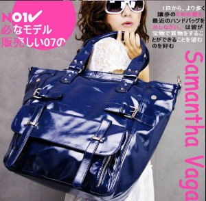 SV  PATENT LEATHER TOTE B668 IN BLUE