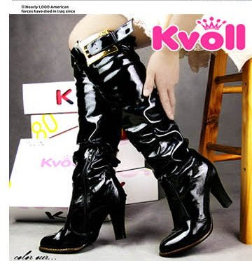 DESIGNER STYLE  HIGH HEEL BOOTS WITH  PATENT LEATHER
