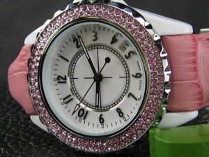 DESIGNER STYLE WATCH WITH STONES IN PINK LEATHER BAND