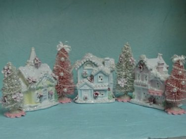Shabby Christmas Chic Village Small Victorian House Snow Bottle Brush Sisal Tree