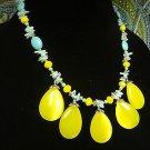 Yellow Bib Necklace Natural Turquoise Gemstone Beaded Handmade Jewelry New