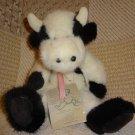 1996 Vintage Boyds Black White Cow J B Bean Series Plush Stuffed Animal W/ Tag