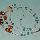 Beaded Fun ID Badge Lanyard Necklace Name Tag Holder Glass Beads New