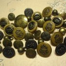 VINTAGE TO MODERN BUTTONS BRASS COLOR METAL LOT 35 PCS
