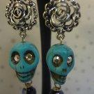 Skull Earrings Punk Goth Handmad Day Of The Dead Swarovski Crystal Jewelry