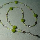 Beaded ID Badge Lanyard Necklace Tag Holder Green Crystal Beads New