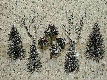 Sisal Bottle Brush Trees Christmas Village Accessories Mix Sizes Lot 7