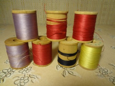 Vintage Wood Spools Thread Sewing Made In Italy Lot 7