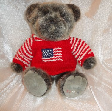 USA PATRIOTIC TEDDY BEAR FLAG SWEATER DILLARDS PLUSH STUFFED ANIMAL 18""
