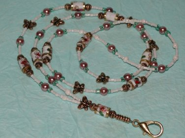 Beaded ID Badge Lanyard Name Tag Holder Butterflies Necklace Cloisonné Beads New
