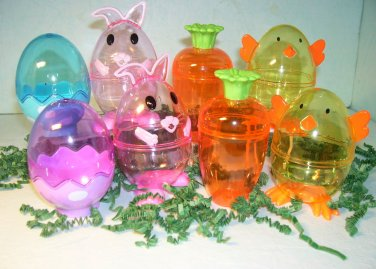 Plastic Easter Eggs Fill-able For Basket Egg Hunt Decoration Bunny Chick New 8pc