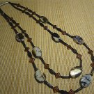 Gemstone Statement Necklace Polished Natural Agate Beads 2 Strand 28""