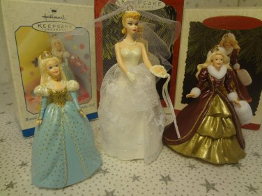 Barbie Holiday Bride Cinderella Hallmark Keepsake Christmas Ornament Lot 3 New