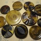 Vintage Celluloid Tight Top Buttons Natural Sewing Craft MIX LOT 11 pcs