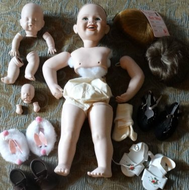 Doll Making Repair Supplies Porcelain Doll Kit Heads Arms Legs Wigs Shoes 3 Sets