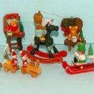 Vintage Wooden Wood Christmas Tree Ornaments Lot 5