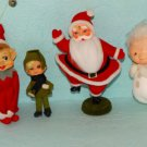 Vintage Flocked Felt Knee Hugger Elf Angel Santa Christmas Tree Ornaments Lot 4