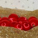 Vintage Satin Styrofoam Ball Christmas Ornaments Red Lot 15