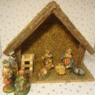 Vintage 50s Christmas Nativity Set Figures Wood Creche Manger Stable Barn Italy