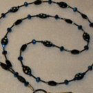 Beaded ID Badge Lanyard Necklace Tag Holder Black Blue Beads New