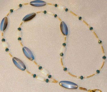 Moonstone Beaded ID Badge Lanyard Necklace Tag Holder Moonstone Beads New