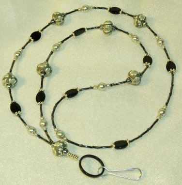 Beaded ID Badge Lanyard Necklace Tag Holder Gray Black Silver Beads New
