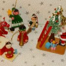 Vintage Wooden Wood Christmas Tree Ornaments Sisal Tree Santa Rocking Horse Lot