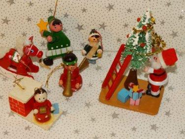 Vintage Wooden Wood Christmas Tree Ornaments Sisal Tree Santa Rocking Horse Lot