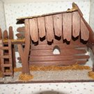 Vintage Christmas Nativity With Light Wood Wooden Manger Stable Barn Creche Only