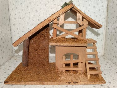 Vintage Nativity Christmas Wooden Wood Manger Stable Barn Creche Only