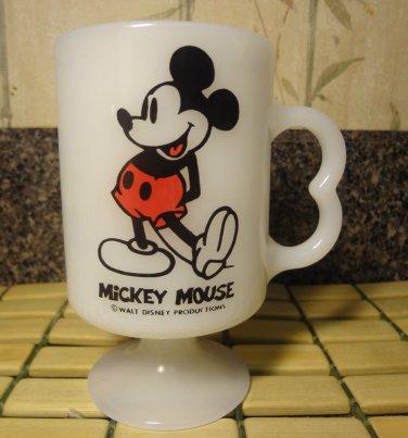 Walt Disney Mickey Mouse White Glass Coffee Mug Tea Cocoa Cup Made USA