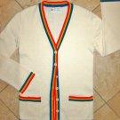Letterman Cardigan Varsity Sweater XS Acrylic Vintage Rainbow Stripe