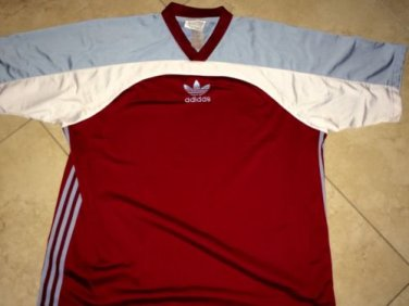 Vintage 80s ADIDAS TREFOIL Maroon T Shirt Sz XL Three Stripes